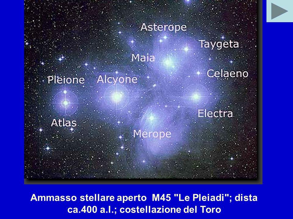 Ammasso stellare aperto M45 Le Pleiadi ; dista ca.400 a.l.; costellazione del Toro