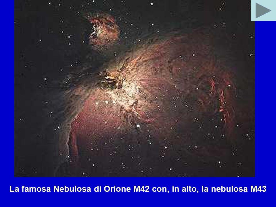 La famosa Nebulosa di Orione M42 con, in alto, la nebulosa M43
