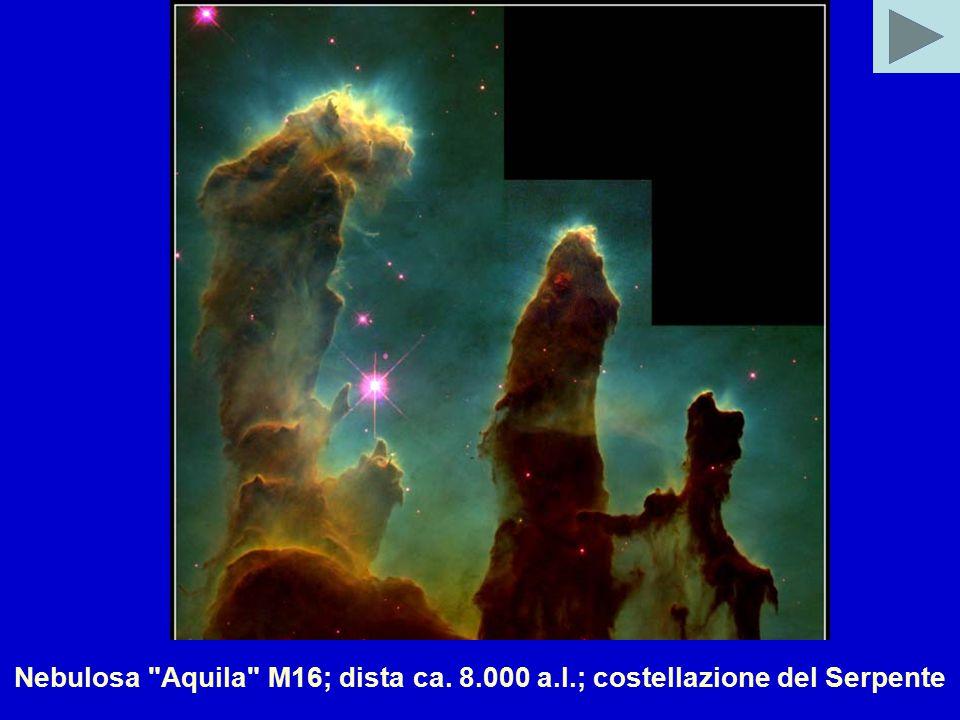 Nebulosa Aquila M16; dista ca. 8.000 a.l.; costellazione del Serpente