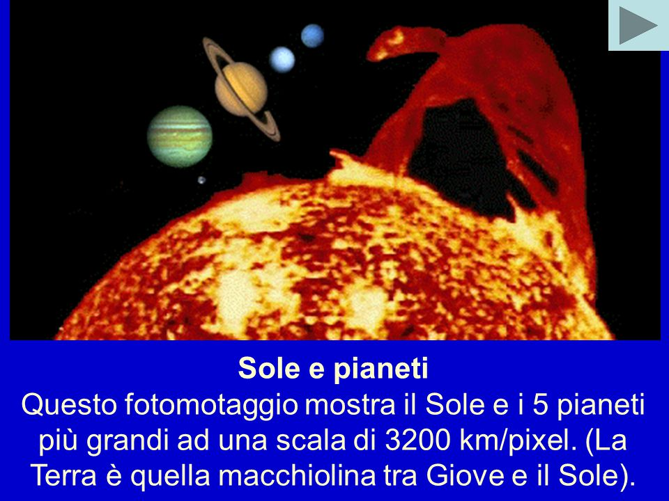 Sole e pianeti Questo fotomotaggio mostra il Sole e i 5 pianeti più grandi ad una scala di 3200 km/pixel.