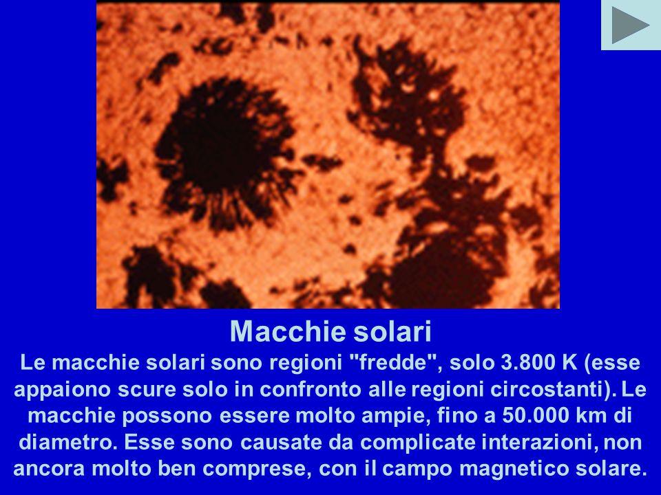 Macchie solari Le macchie solari sono regioni fredde , solo 3.800 K (esse appaiono scure solo in confronto alle regioni circostanti).