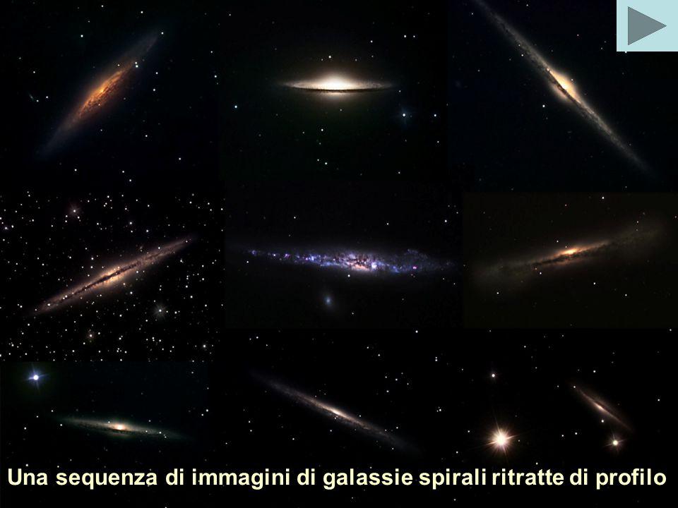 Una sequenza di immagini di galassie spirali ritratte di profilo