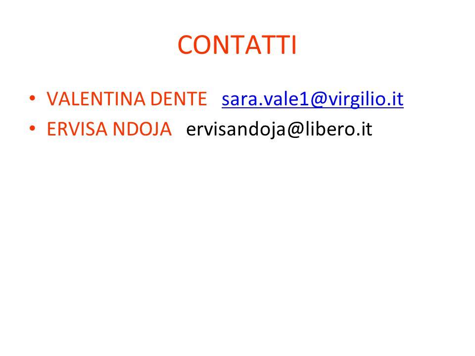 CONTATTI VALENTINA DENTE sara.vale1@virgilio.itsara.vale1@virgilio.it ERVISA NDOJA ervisandoja@libero.it