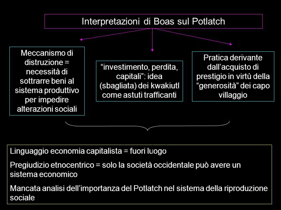 """Interpretazioni di Boas sul Potlatch Meccanismo di distruzione = necessità di sottrarre beni al sistema produttivo per impedire alterazioni sociali """"i"""