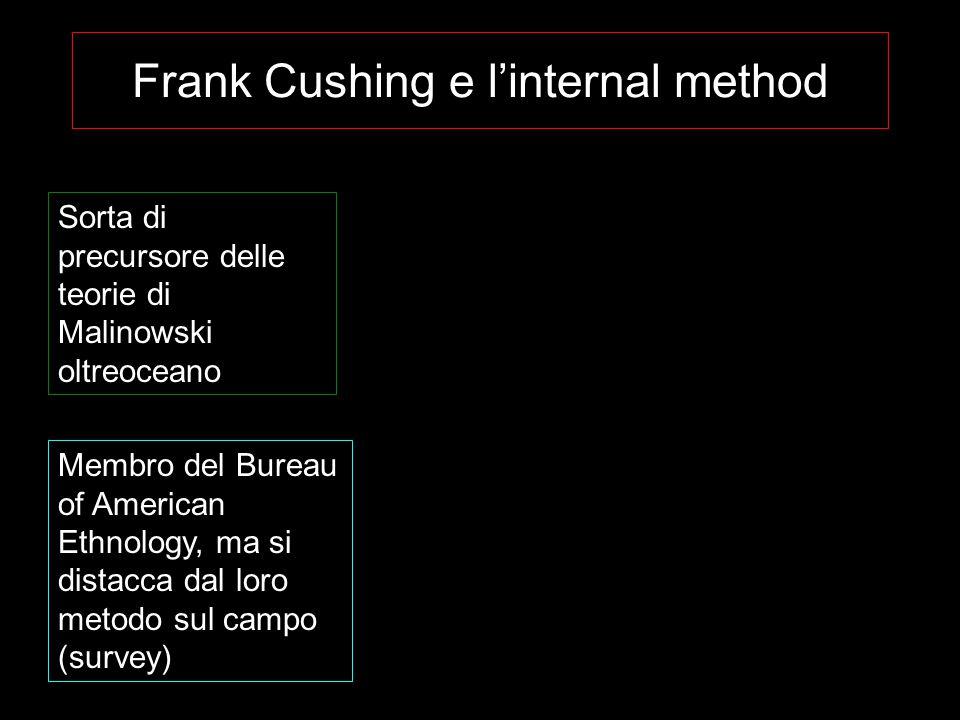 Frank Cushing e l'internal method Sorta di precursore delle teorie di Malinowski oltreoceano Membro del Bureau of American Ethnology, ma si distacca d