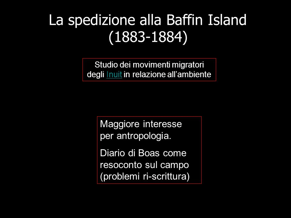 La spedizione alla Baffin Island (1883-1884) Studio dei movimenti migratori degli Inuit in relazione all'ambienteInuit Maggiore interesse per antropol