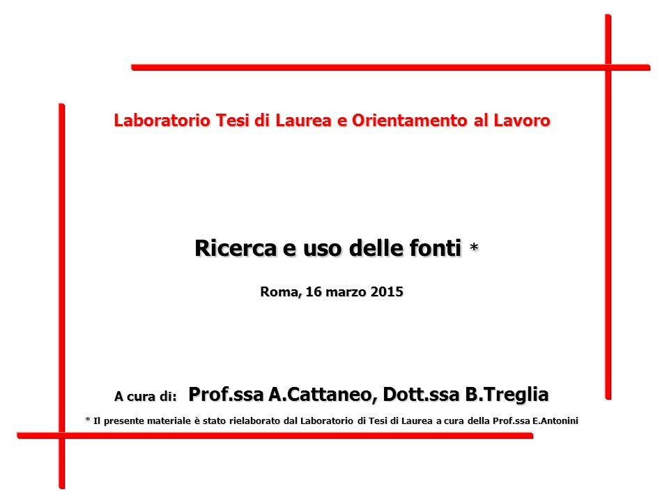 Laboratorio di Tesi di Laurea – CORIS – C'era una volta… (2 marzo 2015)