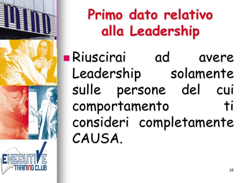 25 Primo dato relativo alla Leadership Riuscirai ad avere Leadership solamente sulle persone del cui comportamento ti consideri completamente CAUSA. R