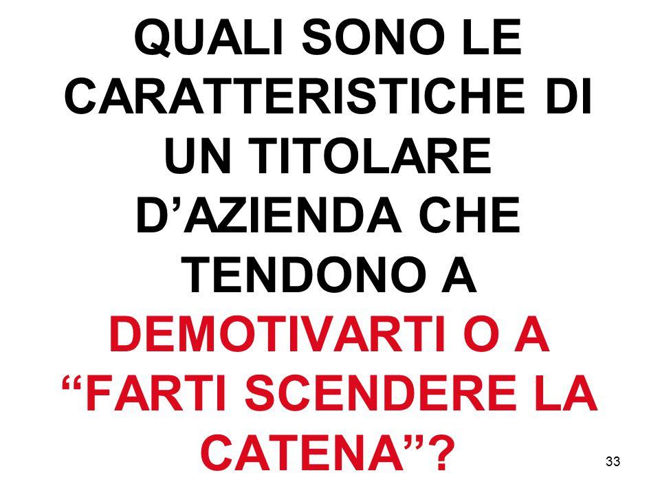 """33 QUALI SONO LE CARATTERISTICHE DI UN TITOLARE D'AZIENDA CHE TENDONO A DEMOTIVARTI O A """"FARTI SCENDERE LA CATENA""""?"""