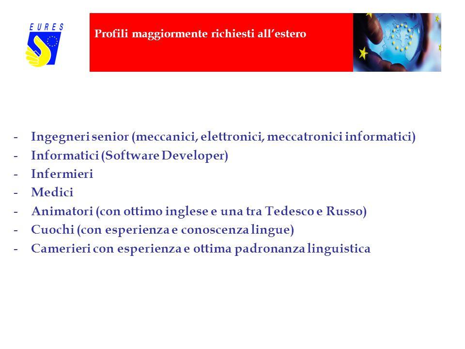 Profili maggiormente richiesti all'estero - Ingegneri senior (meccanici, elettronici, meccatronici informatici) - Informatici (Software Developer) - I