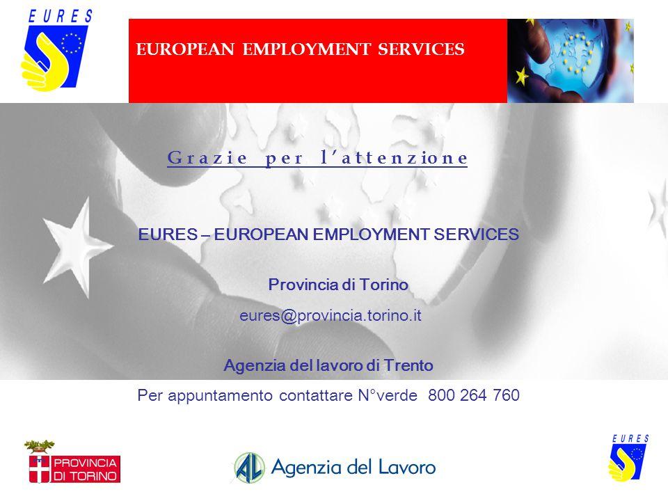 EUROPEAN EMPLOYMENT SERVICES EURES – EUROPEAN EMPLOYMENT SERVICES Provincia di Torino eures@provincia.torino.it Agenzia del lavoro di Trento Per appun