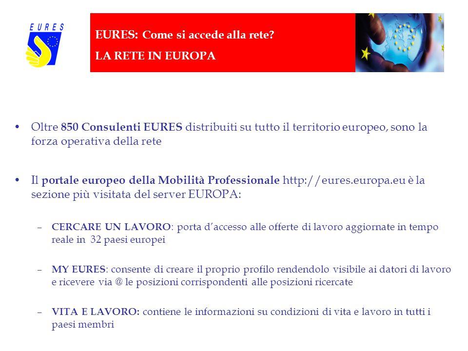EURES: Come si accede alla rete? LA RETE IN EUROPA Oltre 850 Consulenti EURES distribuiti su tutto il territorio europeo, sono la forza operativa dell