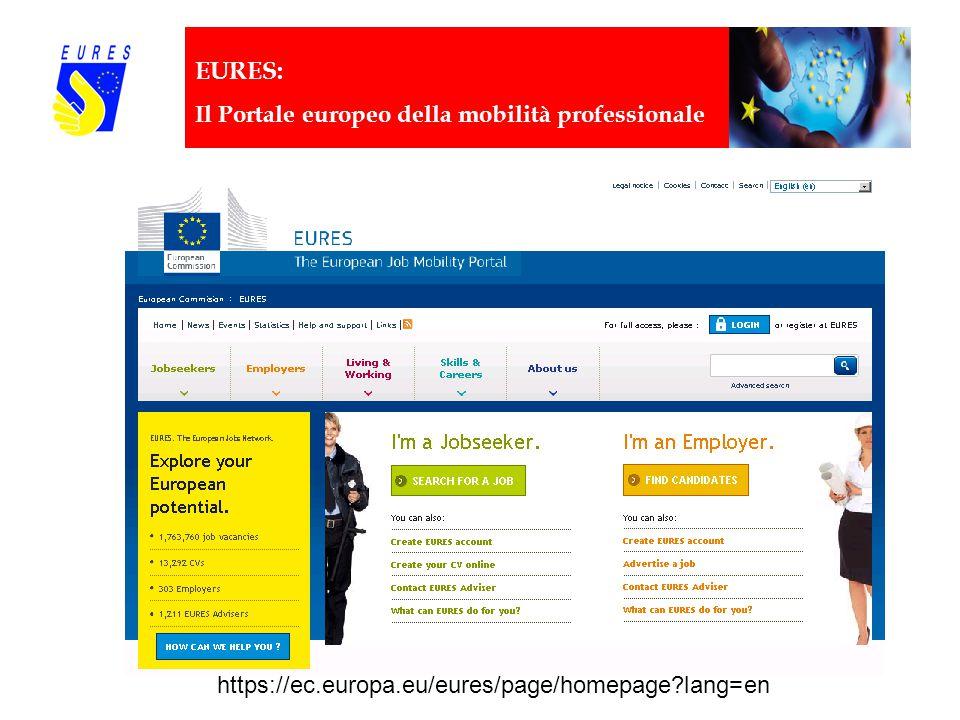 EURES: Il Portale europeo della mobilità professionale http://eures.europa.eu https://ec.europa.eu/eures/page/homepage lang=en