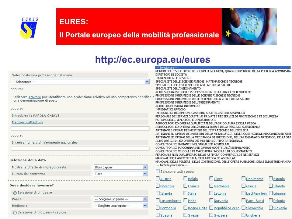 EURES: Il Portale europeo della mobilità professionale http://ec.europa.eu/eures