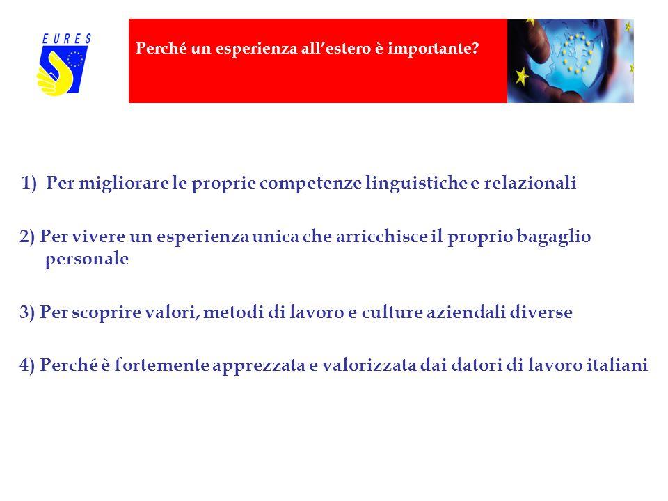 Perché un esperienza all'estero è importante? 1) Per migliorare le proprie competenze linguistiche e relazionali 2) Per vivere un esperienza unica che