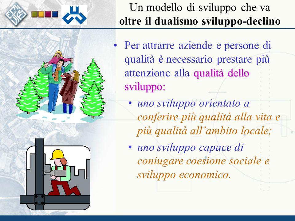 qualità dello sviluppo:Per attrarre aziende e persone di qualità è necessario prestare più attenzione alla qualità dello sviluppo: uno sviluppo orientato a conferire più qualità alla vita e più qualità all'ambito locale; uno sviluppo capace di coniugare coesione sociale e sviluppo economico.