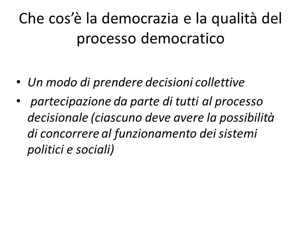 Che cos'è la democrazia e la qualità del processo democratico Un modo di prendere decisioni collettive partecipazione da parte di tutti al processo decisionale (ciascuno deve avere la possibilità di concorrere al funzionamento dei sistemi politici e sociali)