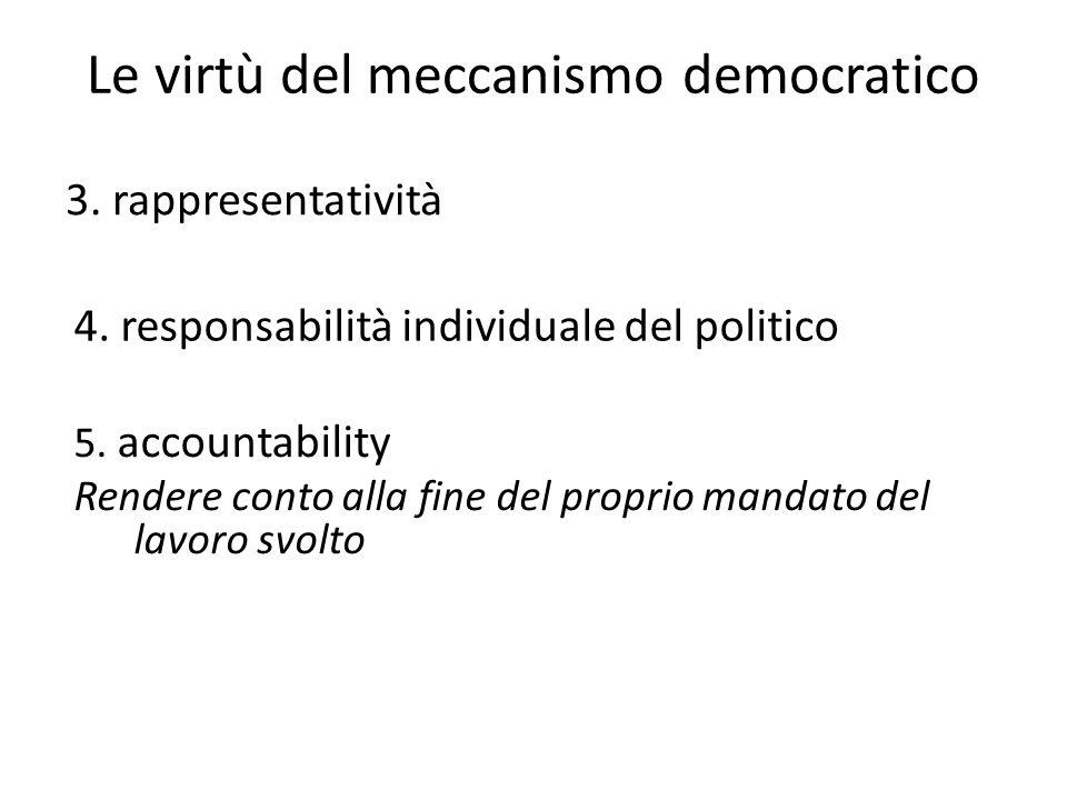 Le virtù del meccanismo democratico 3. rappresentatività 4. responsabilità individuale del politico 5. accountability Rendere conto alla fine del prop