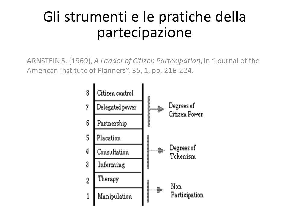 """Gli strumenti e le pratiche della partecipazione ARNSTEIN S. (1969), A Ladder of Citizen Partecipation, in """"Journal of the American Institute of Plann"""