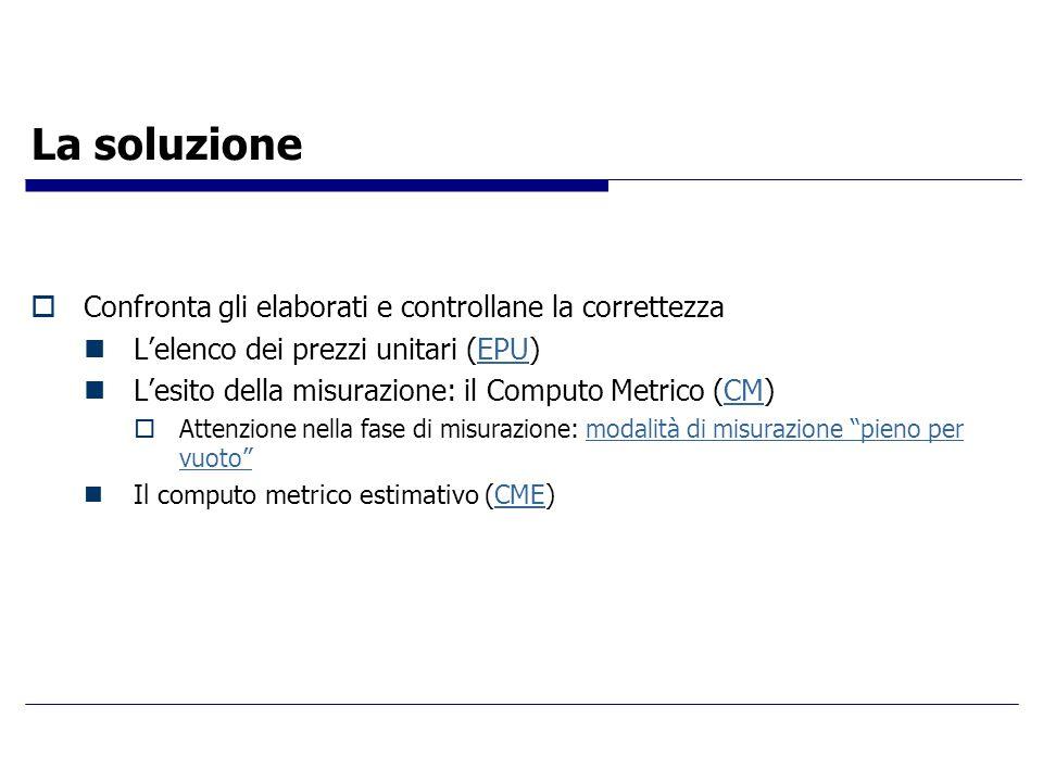 La soluzione  Confronta gli elaborati e controllane la correttezza L'elenco dei prezzi unitari (EPU)EPU L'esito della misurazione: il Computo Metrico