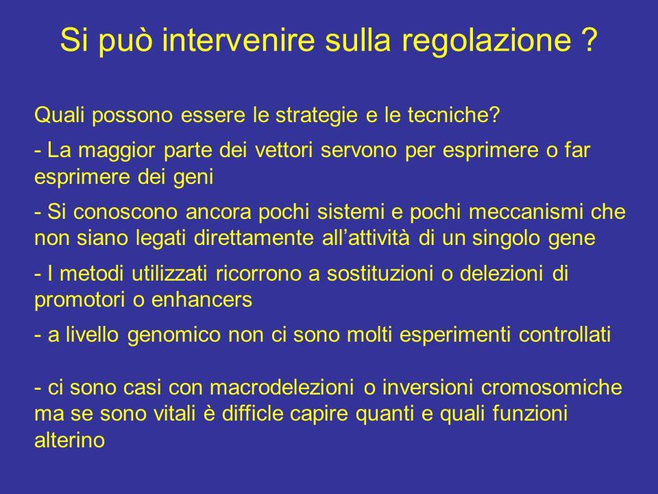Si può intervenire sulla regolazione . Quali possono essere le strategie e le tecniche.