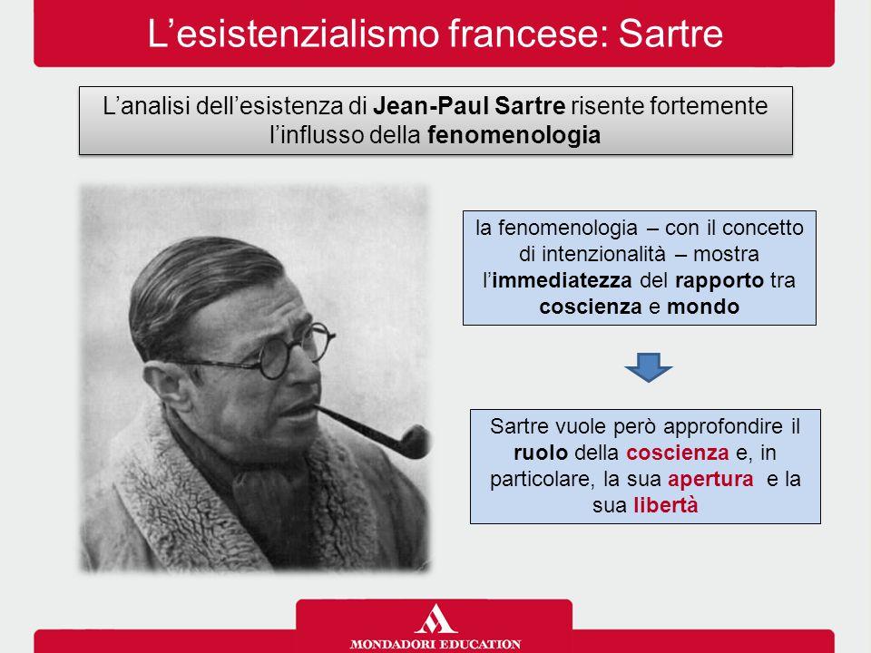 L'esistenzialismo francese: Sartre L'analisi dell'esistenza di Jean-Paul Sartre risente fortemente l'influsso della fenomenologia Sartre vuole però ap