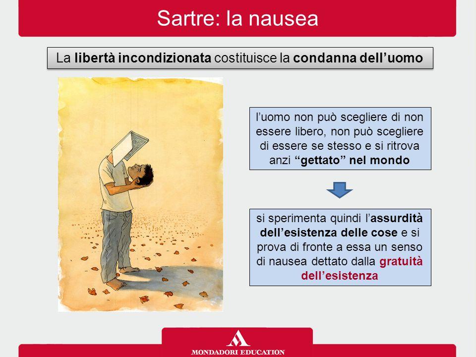 Sartre: la nausea La libertà incondizionata costituisce la condanna dell'uomo si sperimenta quindi l'assurdità dell'esistenza delle cose e si prova di