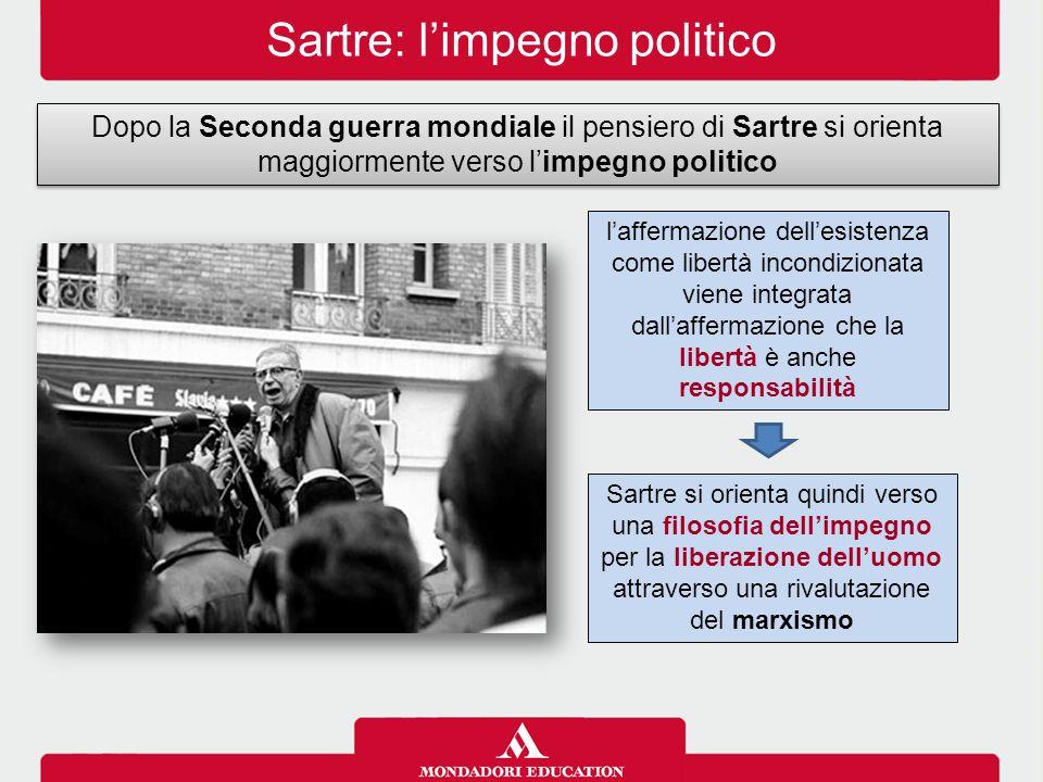 Sartre: l'impegno politico Dopo la Seconda guerra mondiale il pensiero di Sartre si orienta maggiormente verso l'impegno politico Sartre si orienta qu