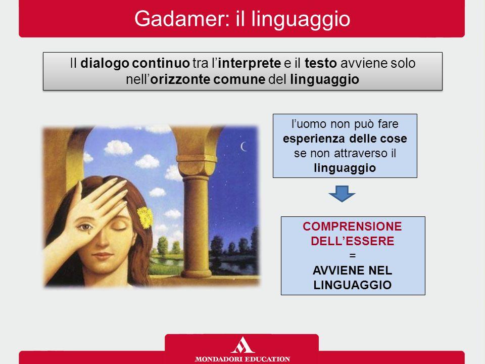 Gadamer: il linguaggio Il dialogo continuo tra l'interprete e il testo avviene solo nell'orizzonte comune del linguaggio l'uomo non può fare esperienz