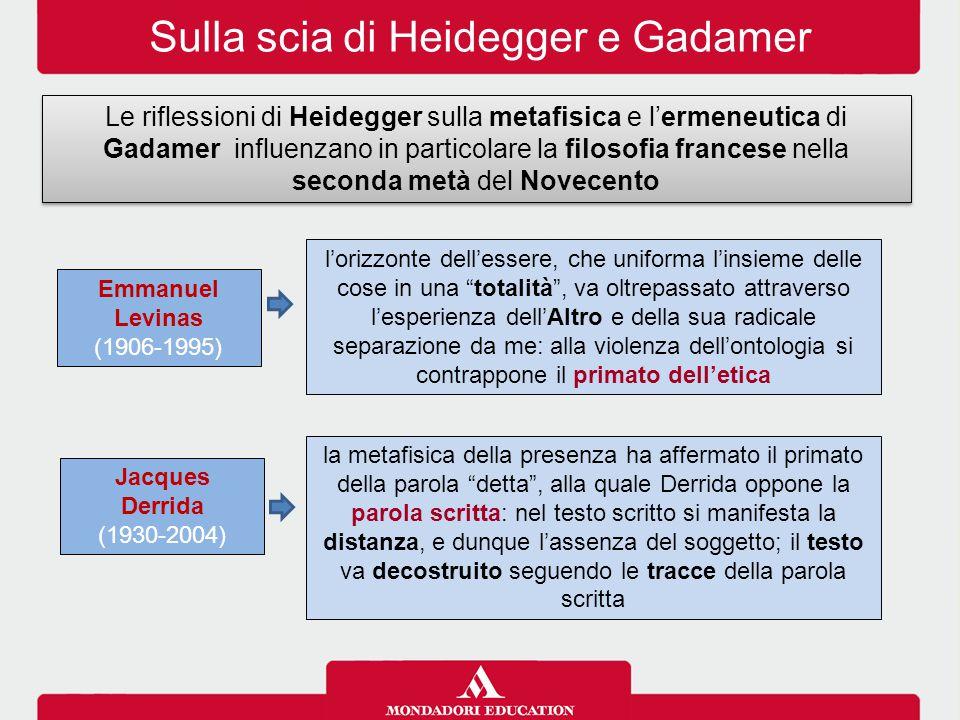 Sulla scia di Heidegger e Gadamer Le riflessioni di Heidegger sulla metafisica e l'ermeneutica di Gadamer influenzano in particolare la filosofia fran