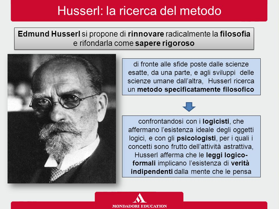 Husserl: la ricerca del metodo Edmund Husserl si propone di rinnovare radicalmente la filosofia e rifondarla come sapere rigoroso di fronte alle sfide