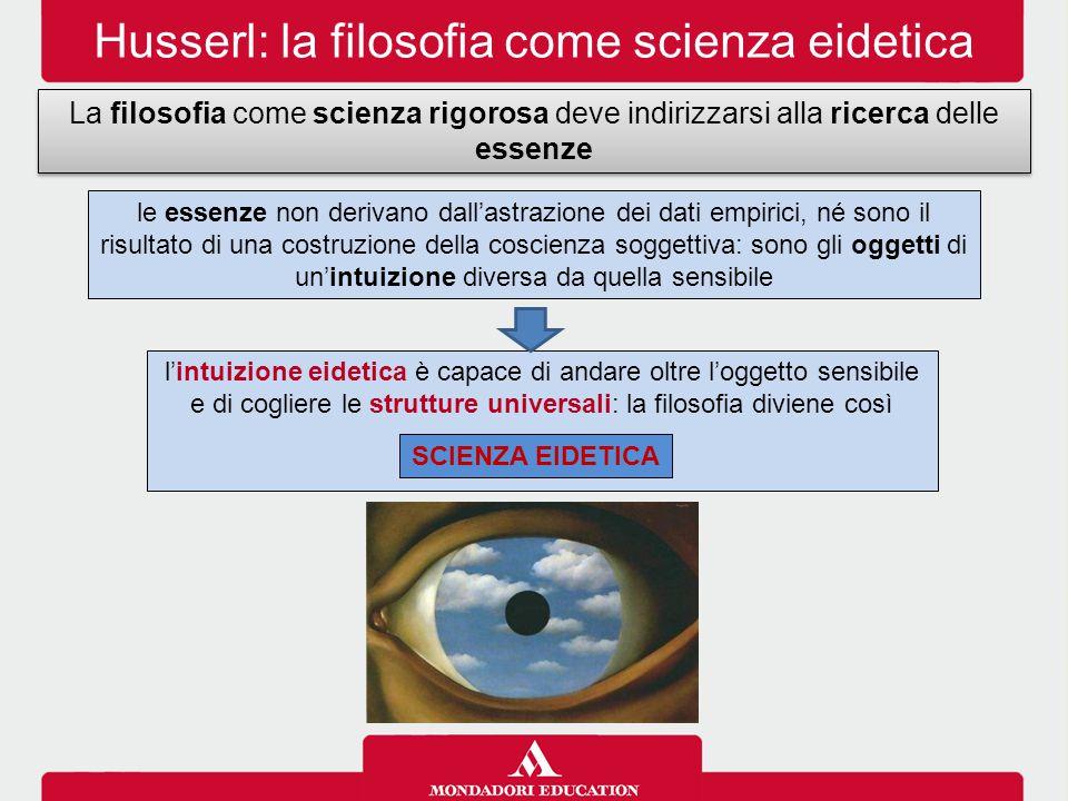 Husserl: la filosofia come scienza eidetica La filosofia come scienza rigorosa deve indirizzarsi alla ricerca delle essenze l'intuizione eidetica è ca