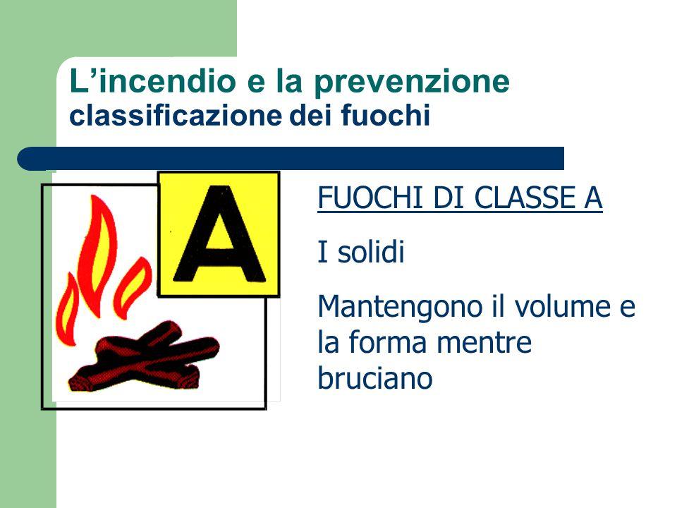 L'incendio e la prevenzione classificazione dei fuochi FUOCHI DI CLASSE A I solidi Mantengono il volume e la forma mentre bruciano