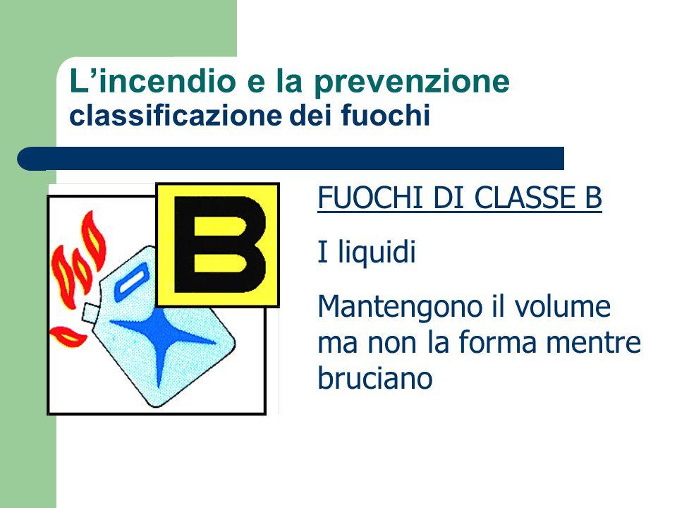 L'incendio e la prevenzione classificazione dei fuochi FUOCHI DI CLASSE B I liquidi Mantengono il volume ma non la forma mentre bruciano