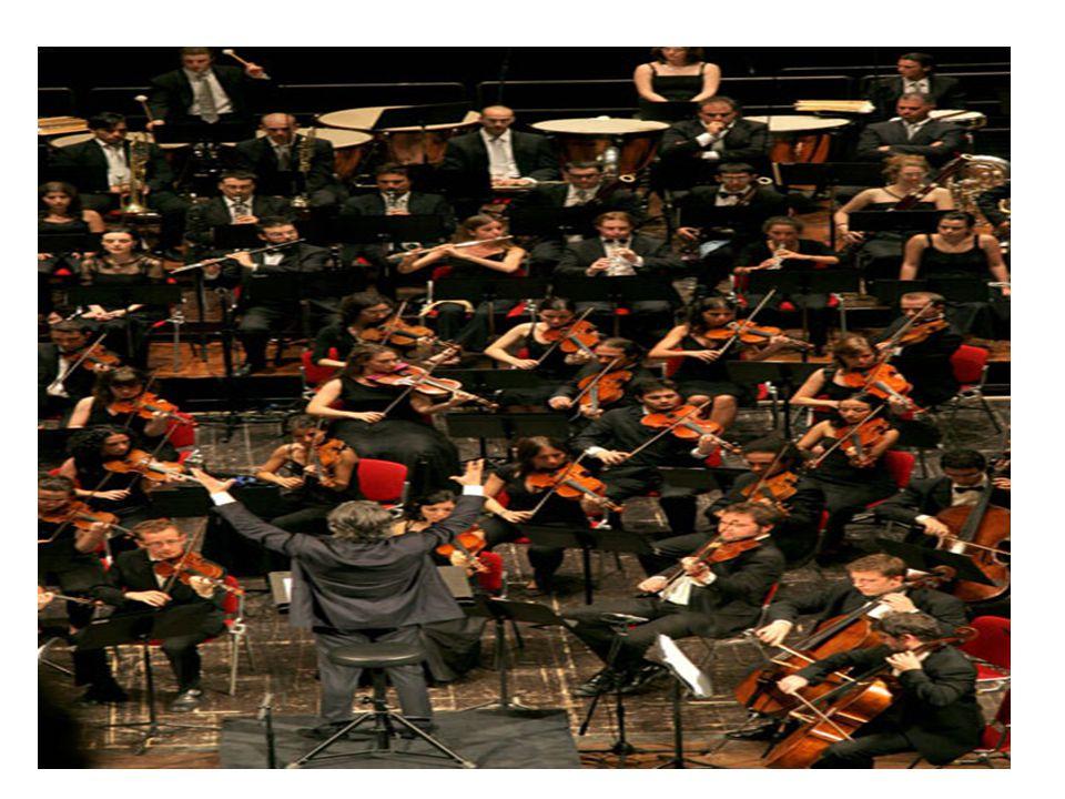 L'ORCHESTRA ORCHESTRA SINFONICA I primi violini sono 16 tutti posizionati in prima fila e seguono i secondi violini Al centro troviamo viole, Violincelli e contrabassi Gli strumenti a fiato sono disposti in più file centrali Nell'ultima fila in alto troviamo gli strumenti a percussione Possono esserci fino a 100 strumenti