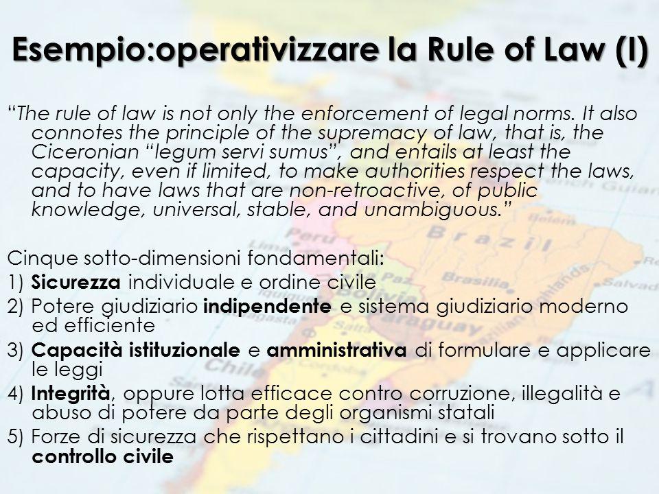 Esempio:operativizzare la Rule of Law (II)
