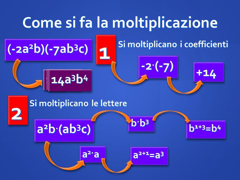 Come si fa la moltiplicazione (-2a 2 b)(-7ab 3 c) -2. (-7) +14+14 22 Si moltiplicano i coefficienti 11 Si moltiplicano le lettere a 2 b. (ab 3 c) a 2+