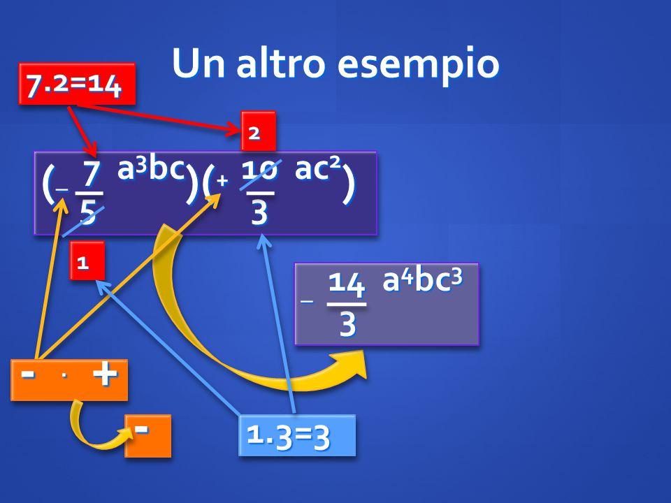 Un altro esempio ( _ 7 a 3 bc )( + 10 ac 2 ) 5 3 5 3 ( _ 7 a 3 bc )( + 10 ac 2 ) 5 3 5 3 11 2 2 _ 14 a 4 bc 3 3 3 -. + -- 7.2=147.2=14 1.3=31.3=3