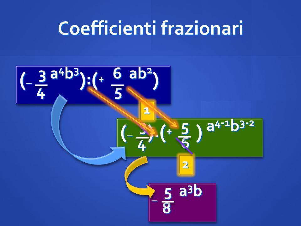 Coefficienti frazionari ( _ 3 a 4 b 3 ) : ( + 6 ab 2 ) 4 5 4 5 ( _ 3 a 4 b 3 ) : ( + 6 ab 2 ) 4 5 4 5 ( _ 3 ). ( + 5 ) a 4-1 b 3-2 4 6 4 6 (_ 3).(+ 5