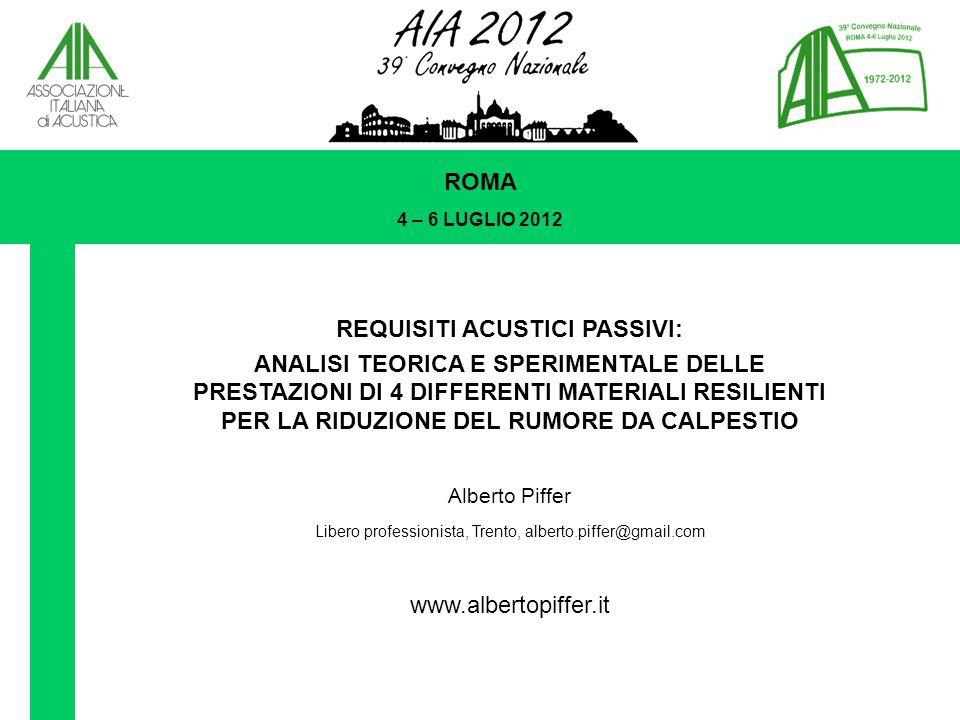 REQUISITI ACUSTICI PASSIVI: ANALISI TEORICA E SPERIMENTALE DELLE PRESTAZIONI DI 4 DIFFERENTI MATERIALI RESILIENTI PER LA RIDUZIONE DEL RUMORE DA CALPESTIO Alberto Piffer Libero professionista, Trento, alberto.piffer@gmail.com www.albertopiffer.it ROMA 4 – 6 LUGLIO 2012