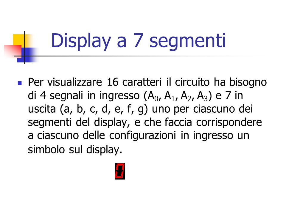 Display a 7 segmenti Per visualizzare 16 caratteri il circuito ha bisogno di 4 segnali in ingresso (A 0, A 1, A 2, A 3 ) e 7 in uscita (a, b, c, d, e,