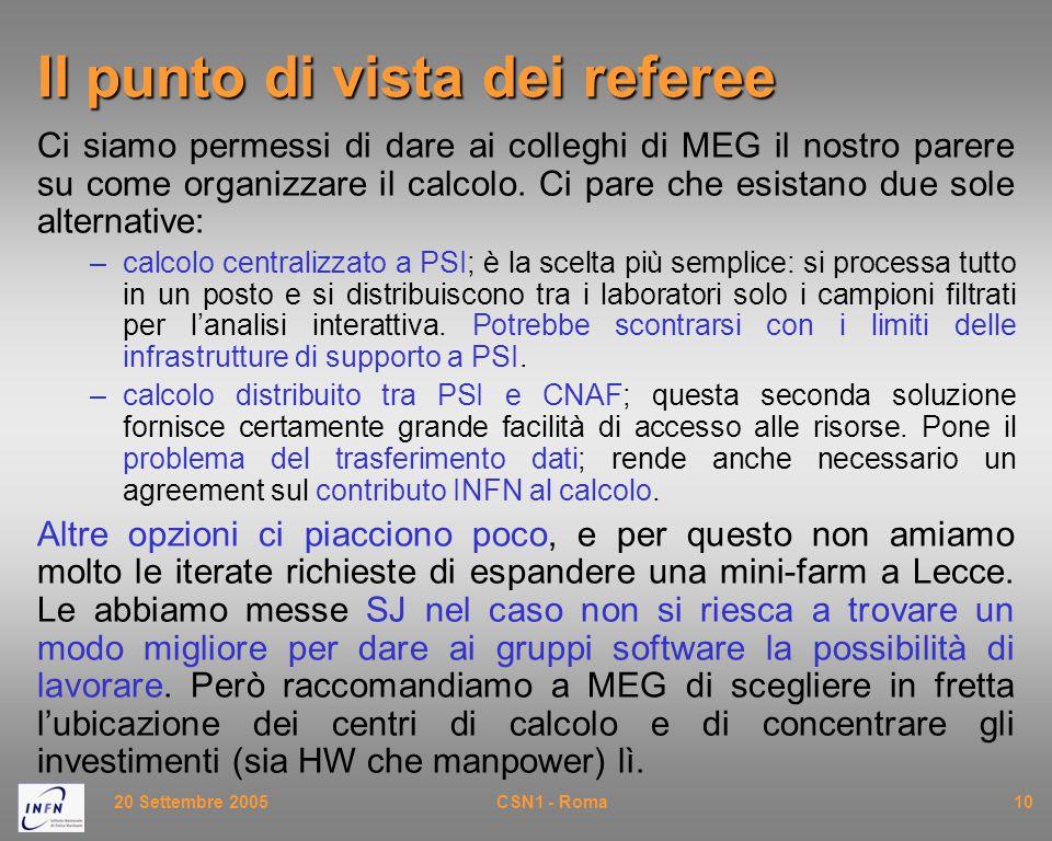 20 Settembre 2005CSN1 - Roma10 Il punto di vista dei referee Ci siamo permessi di dare ai colleghi di MEG il nostro parere su come organizzare il calcolo.