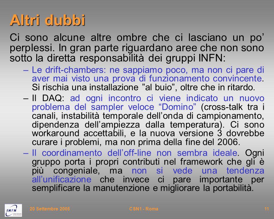20 Settembre 2005CSN1 - Roma11 Altri dubbi Ci sono alcune altre ombre che ci lasciano un po' perplessi. In gran parte riguardano aree che non sono sot