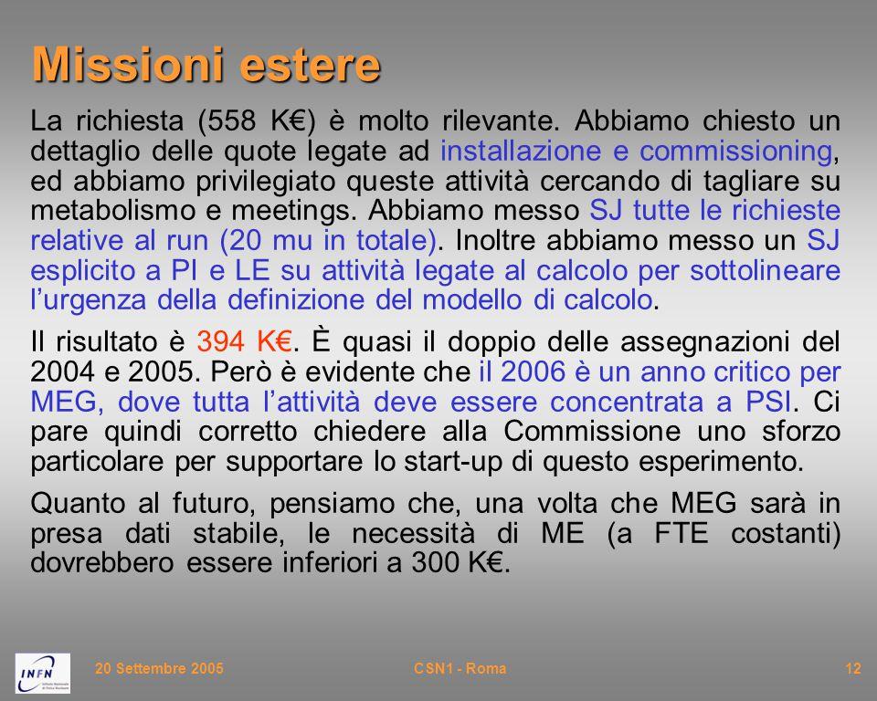 20 Settembre 2005CSN1 - Roma12 Missioni estere La richiesta (558 K€) è molto rilevante. Abbiamo chiesto un dettaglio delle quote legate ad installazio
