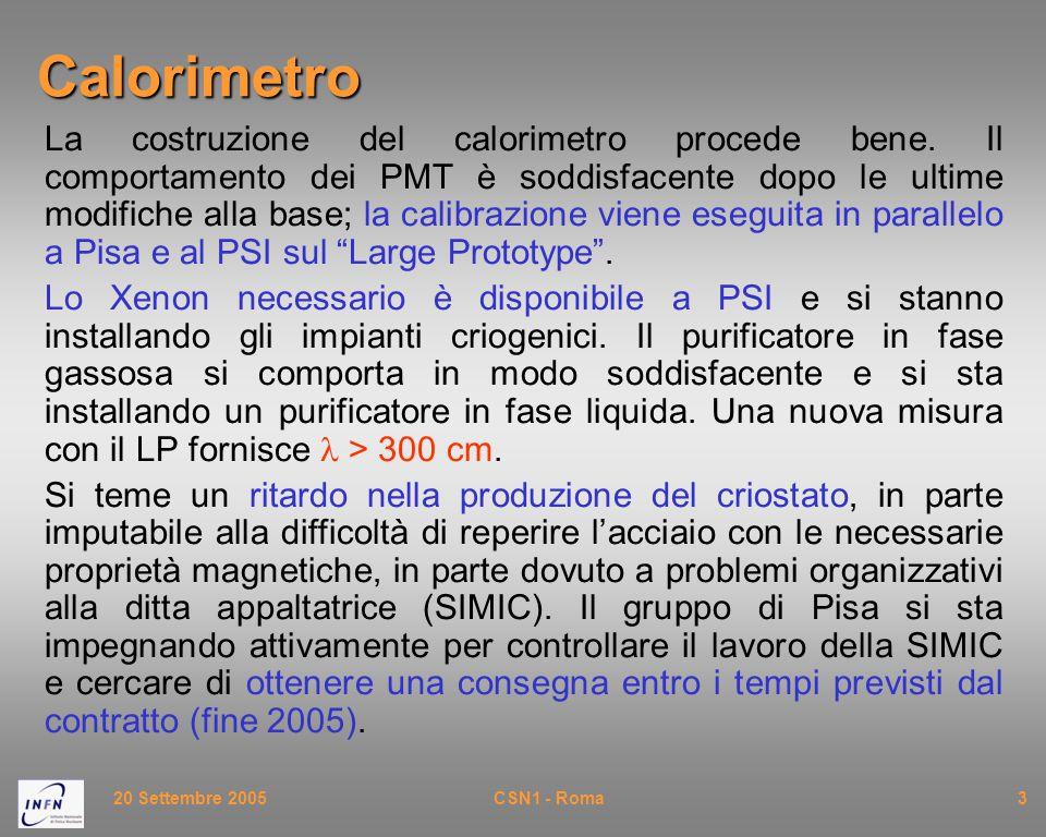 20 Settembre 2005CSN1 - Roma3Calorimetro La costruzione del calorimetro procede bene. Il comportamento dei PMT è soddisfacente dopo le ultime modifich