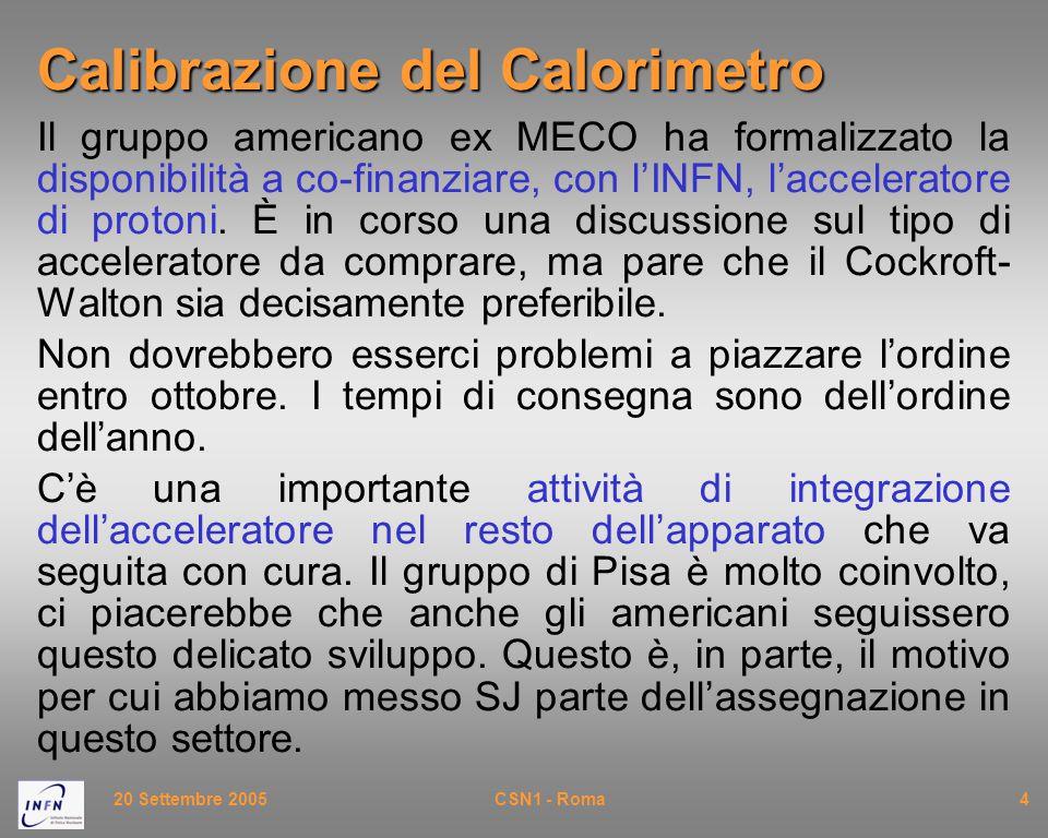 20 Settembre 2005CSN1 - Roma4 Calibrazione del Calorimetro Il gruppo americano ex MECO ha formalizzato la disponibilità a co-finanziare, con l'INFN, l'acceleratore di protoni.