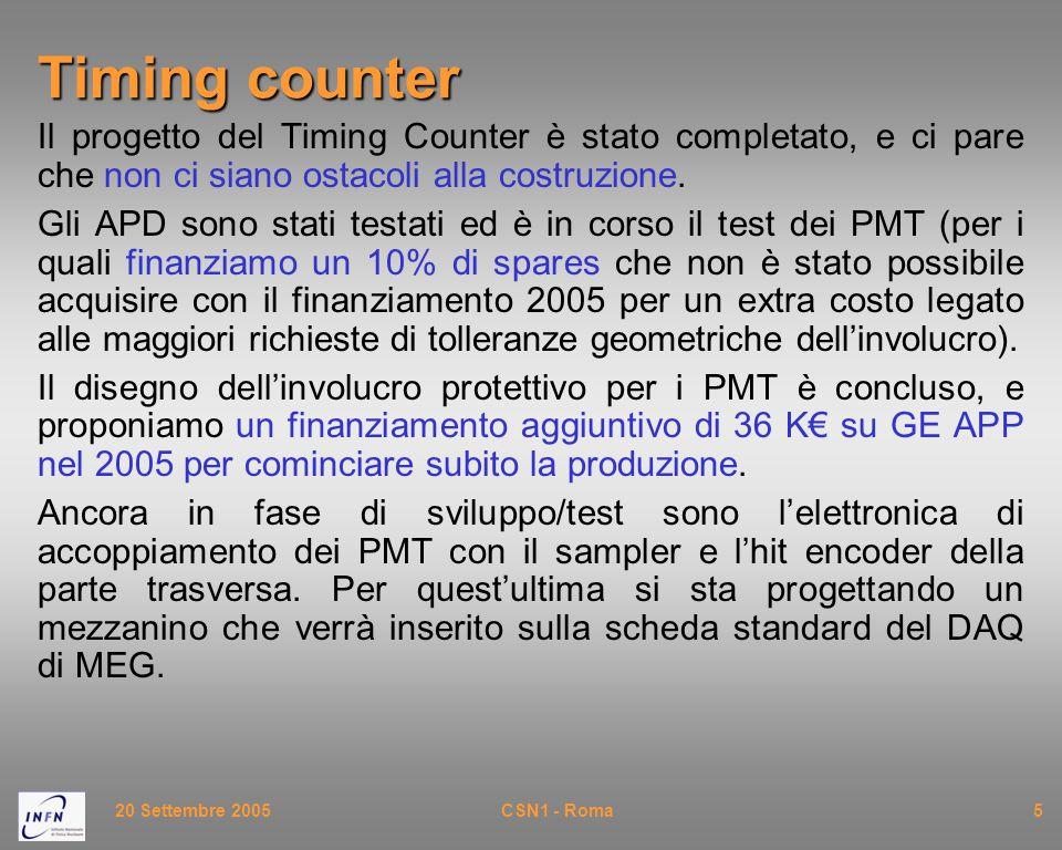 20 Settembre 2005CSN1 - Roma5 Timing counter Il progetto del Timing Counter è stato completato, e ci pare che non ci siano ostacoli alla costruzione.