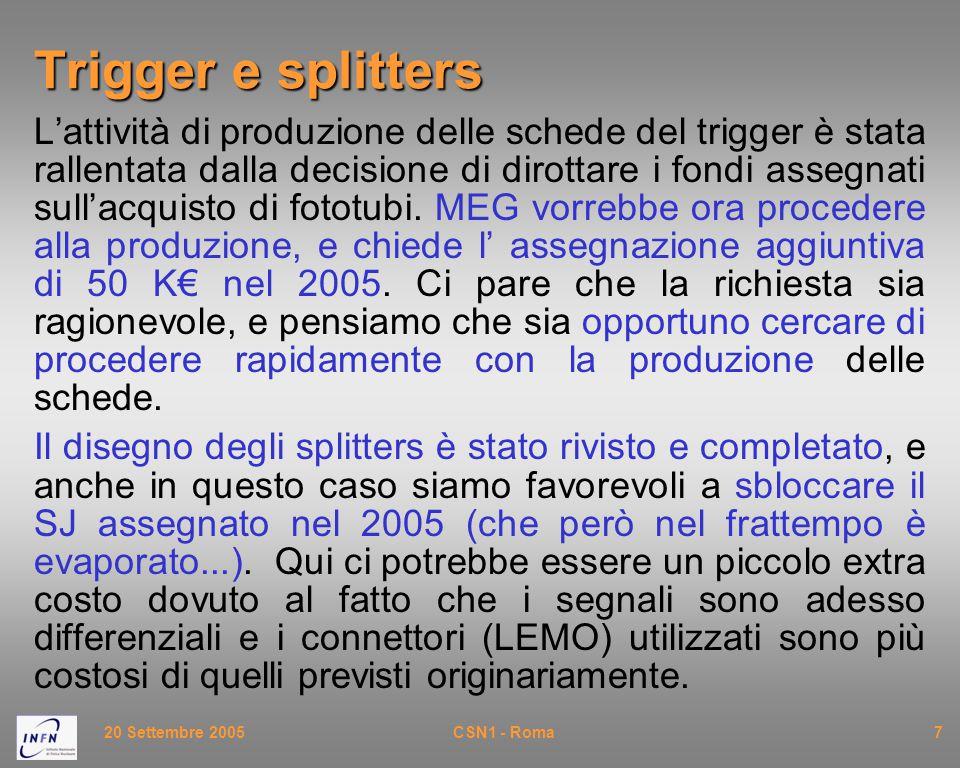 20 Settembre 2005CSN1 - Roma7 Trigger e splitters L'attività di produzione delle schede del trigger è stata rallentata dalla decisione di dirottare i fondi assegnati sull'acquisto di fototubi.