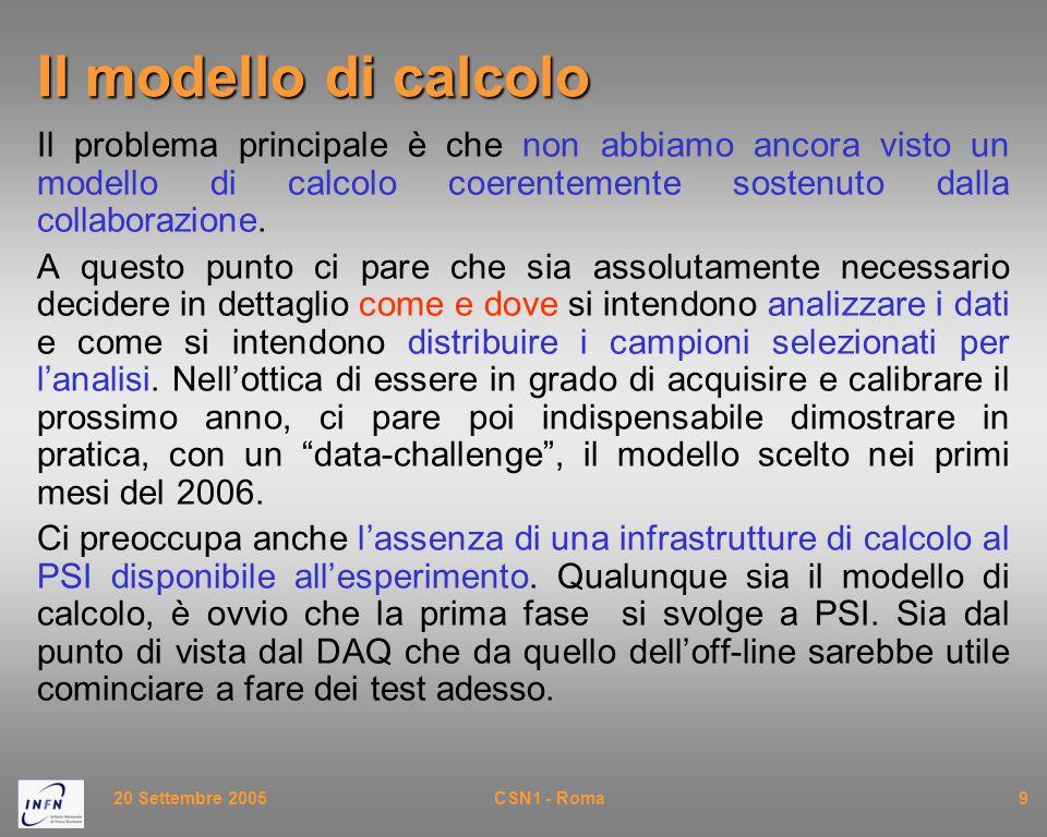 20 Settembre 2005CSN1 - Roma9 Il modello di calcolo Il problema principale è che non abbiamo ancora visto un modello di calcolo coerentemente sostenuto dalla collaborazione.