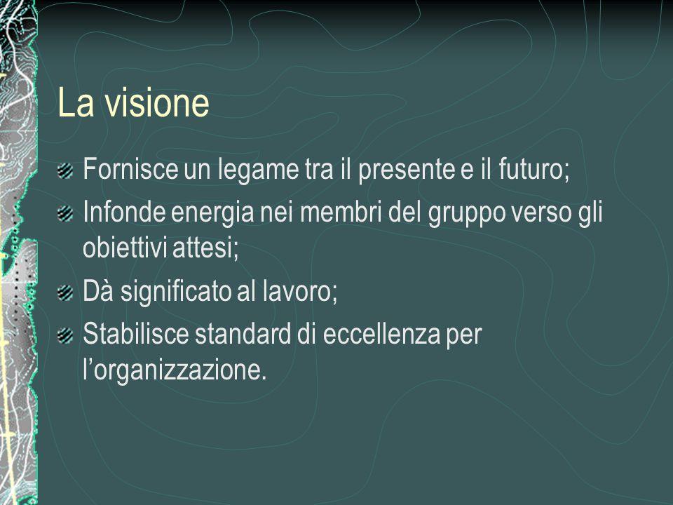 La visione Fornisce un legame tra il presente e il futuro; Infonde energia nei membri del gruppo verso gli obiettivi attesi; Dà significato al lavoro; Stabilisce standard di eccellenza per l'organizzazione.